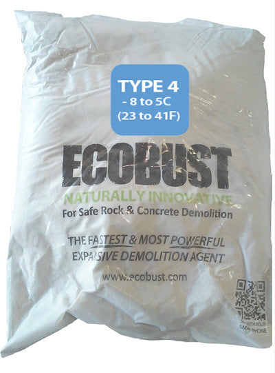 ECOBUST 11 lb Bag TYPE 4 (18 to 41F) Expansive Demolition Grout for Concrete Rock Breaking and Removal