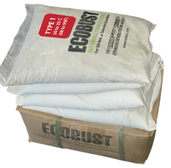 ECOBUST 44 lb Box TYPE 1 (68 to 95F) Expansive Demolition Grout for Concrete Rock Breaking and Removal