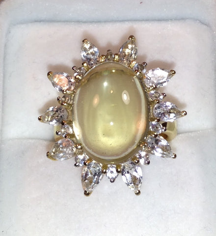 Lemon Quartz & White Topaz 925 Ring