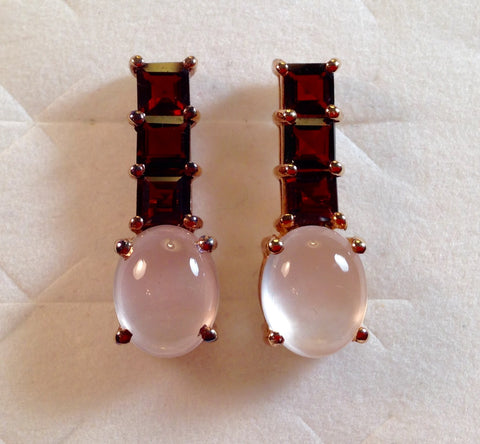 Rose Quartz & Zambian Garnet 925 Earrings