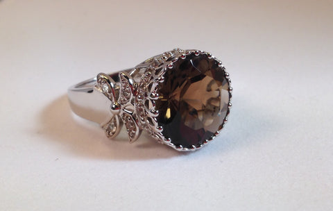 Smokey Quartz & White Topaz Sterling Silver Ring