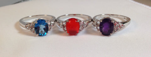 Multi-Color Gemstones Sterling Silver Set of 3 Rings
