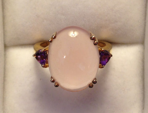 Rose Quartz & Amethyst Gold Plated Sterling Silver Ring