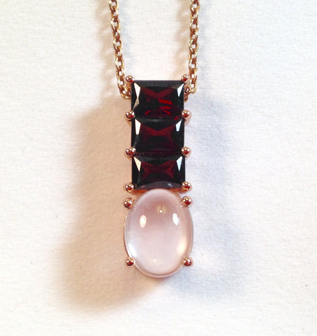 Rose Quartz & Zambian Garnet 925 Pendant with Chain