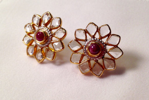 Ruby & White Topaz Gold Plated Sterling Silver Earrings