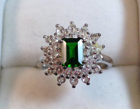 Chrome Diopside & White Topaz Sterling Silver Ring