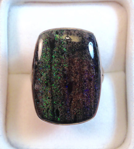 Boulder Black Opal Sterling Silver Ring