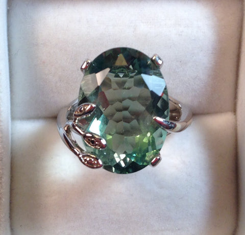 Tuscon Teal Green Fluorite Sterling Silver Ring
