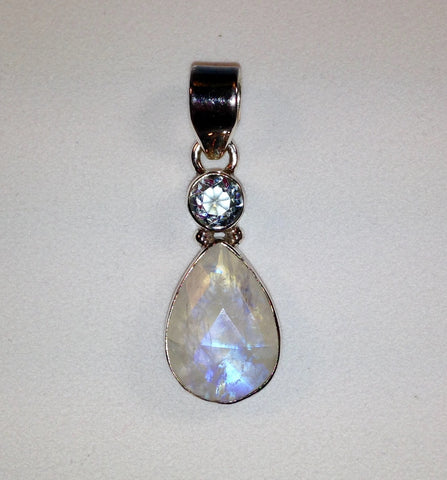 Rainbow Moonstone & Blue Topaz Sterling Silver Pendant