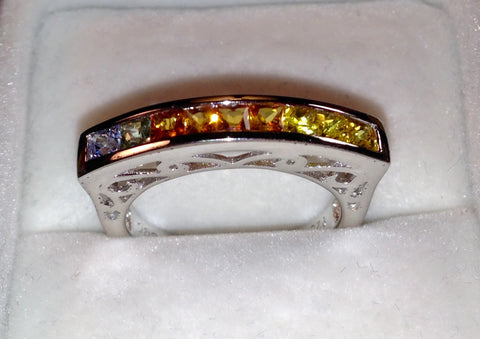 Multi-Color Sapphire Sterling Silver Ring