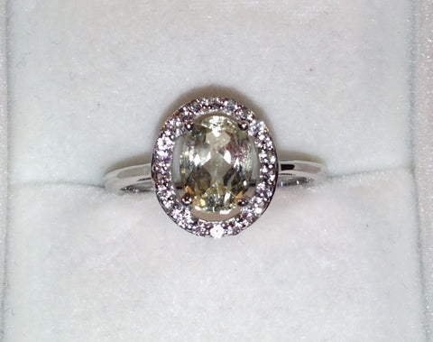 Yellow Kunzite & White Topaz Sterling Silver Ring