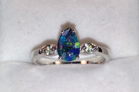 Mosaic Opal & Green Sapphire Sterling Silver Ring