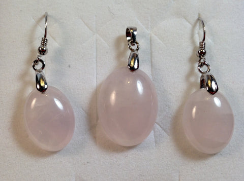 Rose Quartz Sterling Silver Set