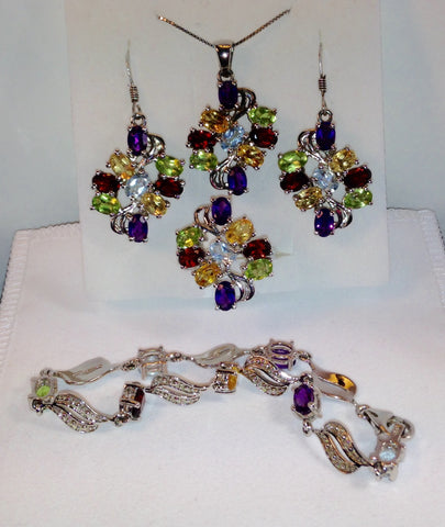 Multi-Color Multi-Gemstone 925 Jewelry Set