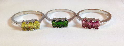Canary Apatite, Pink Tourmaline & Chrome Diopside Ring Set