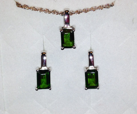 Chrome Diopside Sterling Silver Set of Earrings & Pendant