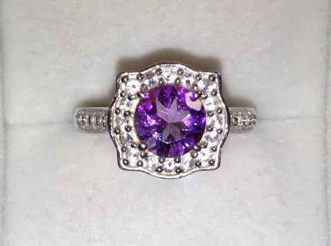 Amethyst & White Topaz 925 Ring