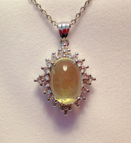 Lemon Quartz & White Topaz Sterling Silver Pendant with Chain