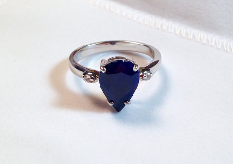 Blue Sapphire & White Zircon Sterling Silver Ring