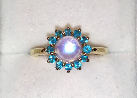 Rainbow Moonstone & Neon Apatite Gold Plated Sterling Silver Ring