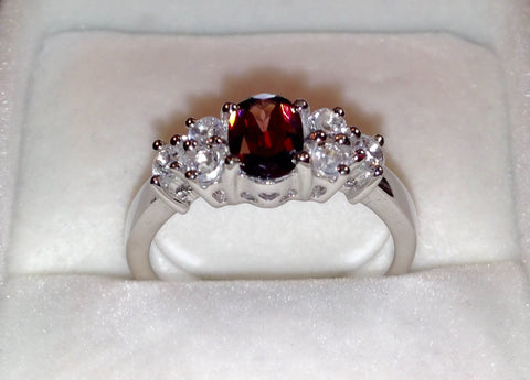 Ratanakiri Cherry Zircon & White Topaz Sterling Silver Ring
