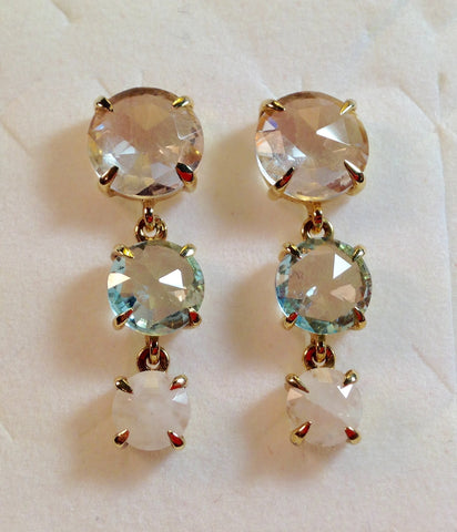 White Quartz, Blue Topaz & Rainbow Moonstone 925 Earrings