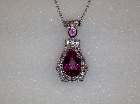 Mystic Pink Topaz & Pink Sapphire Sterling Silver Necklace