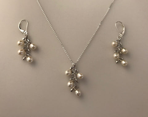 Pearl Necklace & Earrings in Sterling Silver