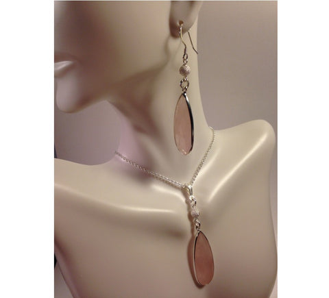 Teardrop Rose Quartz Silver Jewelry Set