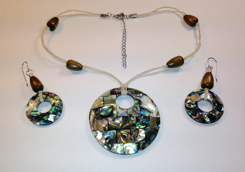 Abalone Hemp Necklace & Earrings Set