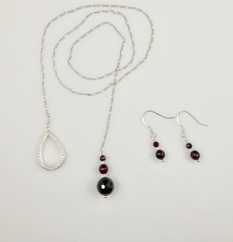 Garnet & Topaz Sterling Silver Jewelry Set