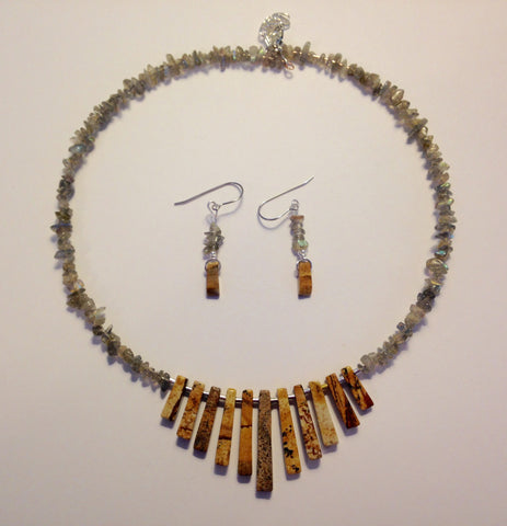 Picture Jasper Choker & Earrings Set