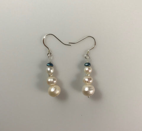 Snowman Sterling Silver & Pearl Earrings