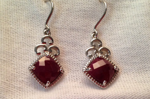 Ratnapuri Ruby Sterling Silver Earrings