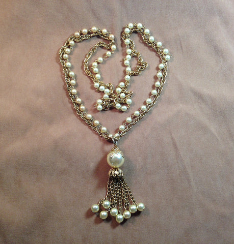 "Vintage 1970's 27"" Faux Pearl Necklace"
