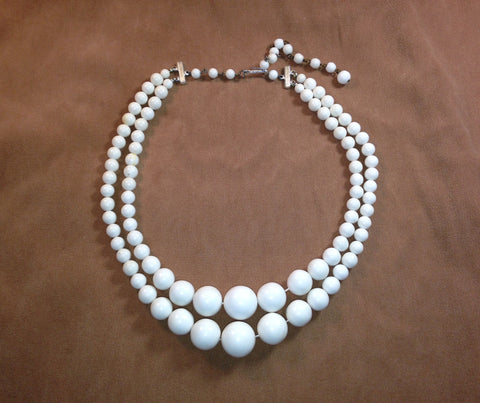 Vintage 1960's White Plastic Bead 2-Row Necklace