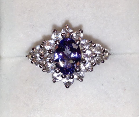AA Tanzanite & White Topaz Sterling Silver Ring