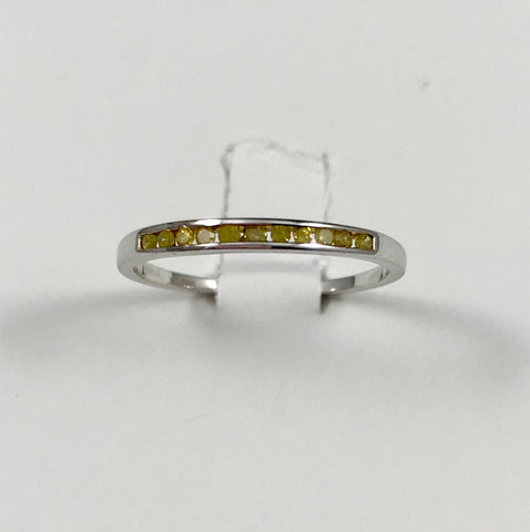 Yellow Diamond Sterling Silver Ring (Size 7)
