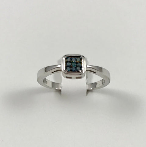 Blue Diamond Sterling Silver Ring (Size 7)