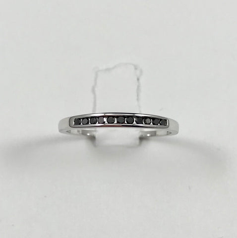 Black Diamond Sterling Silver Ring (Size 7)