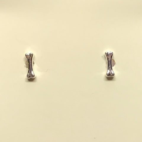 Dog Bone Sterling Silver Earrings