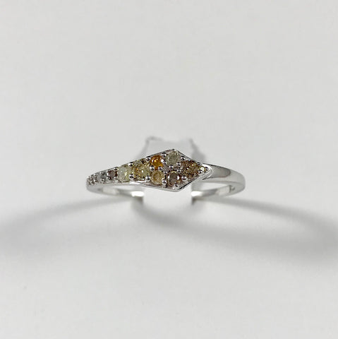 Natural Fancy Diamond Sterling Silver Ring (Size 10)