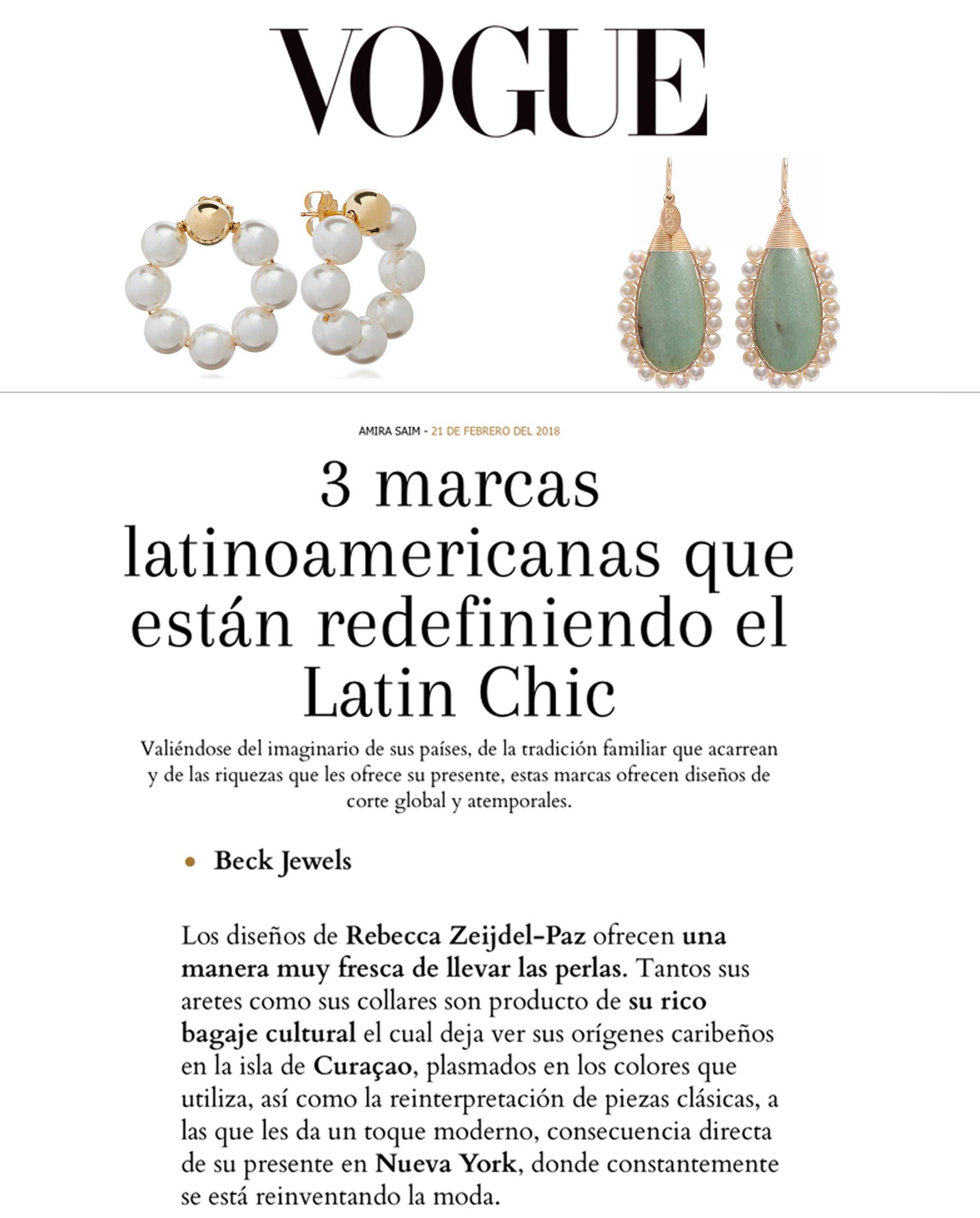 Beck Jewels Featured in Vogue Latin America