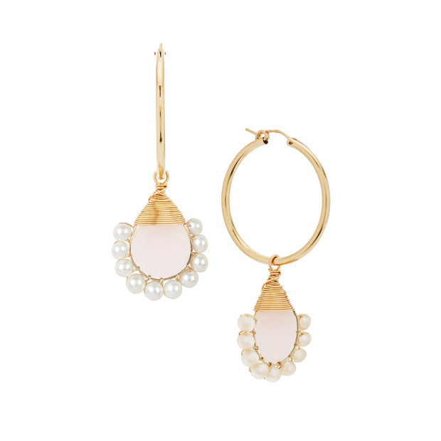 Rose Quartz Lolita Hoops