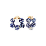 Beck Jewels - Blauw OG studs are handcrafted in Brooklyn, by women for women. Weaving porcelain beads (inspired by Delft Blauw) in 14k gold-filled wires and studs (metals are manufactured in the USA)