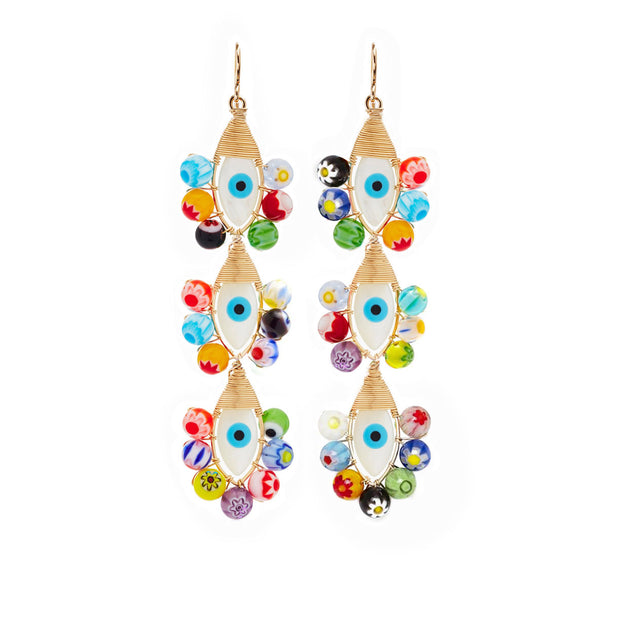 Beck Jewels - Evil Eyes are handcrafted in Brooklyn, by women for women. Pairing millefiori beads with hand-painted mother of pearl evil eyes, created weaving 14k gold-filled wires (metals are manufactured in the USA).