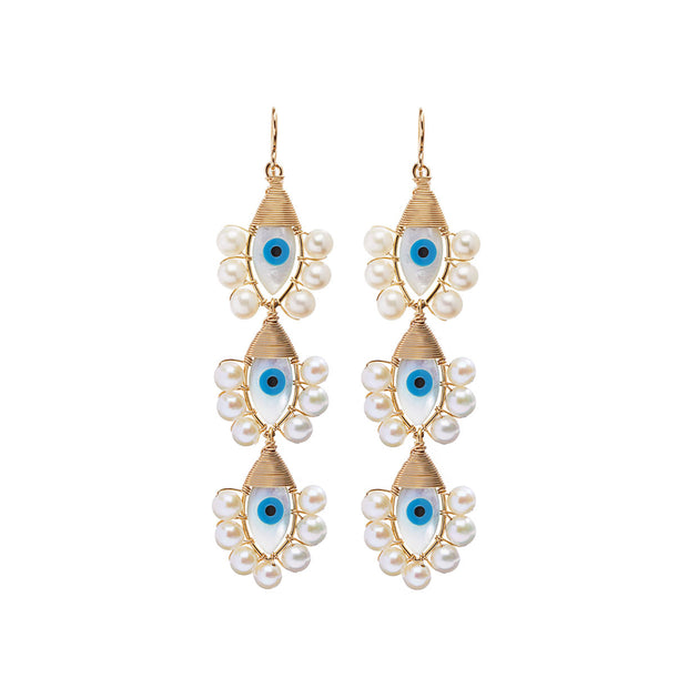 Beck Jewels - Evil Eyes are handcrafted in Brooklyn, by women for women. Pairing freshwater pearls with hand-painted mother of pearl evil eyes, created weaving 14k gold-filled wires (metals are manufactured in the USA).