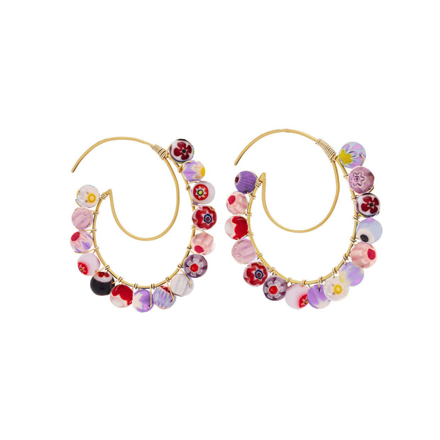 Beck Jewels - Our Pearl Lune Hoops are handcrafted in Brooklyn, by women for women. Weaving purple hued millefiori beads in 14k gold-filled wires on a 24k vermeil 'moon' frame (metals are manufactured in the USA).