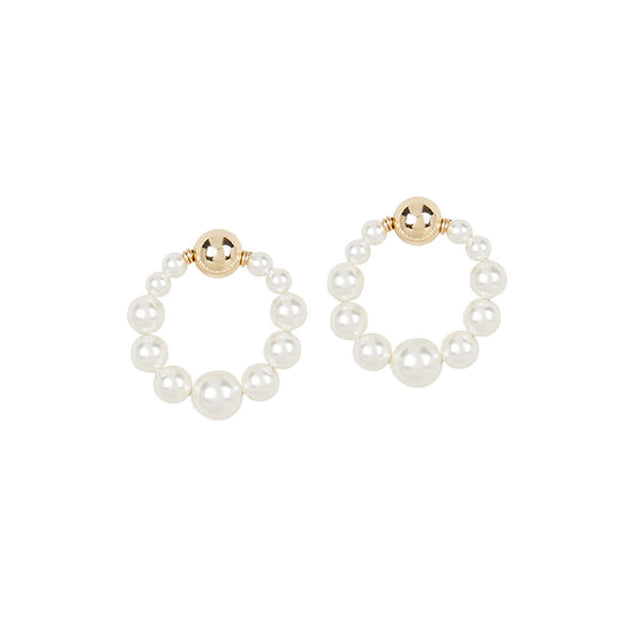 Beck Jewels - Delfina Pearl OG is handcrafted in Brooklyn, by women for women. Weaving Swarovski pearls in 14k gold-filled wires and studs (metals are manufactured in the USA)
