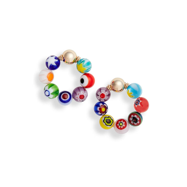 Beck Jewels - Millefiori OG is handcrafted in Brooklyn, by women for women. Weaving millefiori in 14k gold-filled wires and studs (metals are manufactured in the USA)